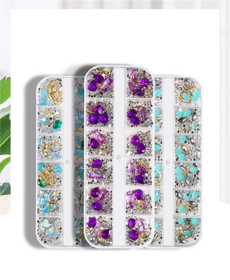 12 shapes Rhinestones For Nails Art Decoration Mix Crystal Metal Nail Rivets Shiny Charm Strass Manicure Accessories Studs,HYT90 1box gold silver mix metal butterfly 3d nail art decorations nail rivets shiny charm strass manicure accessories