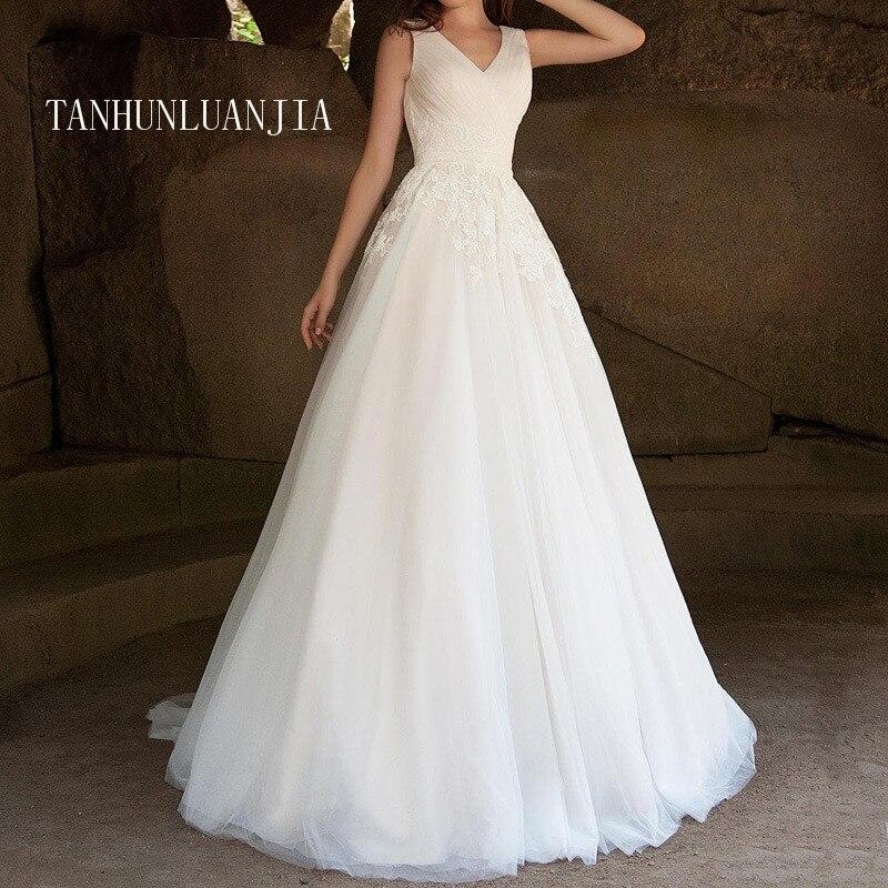 2021 fabuloso tul escote de pico con una línea vestidos de boda...