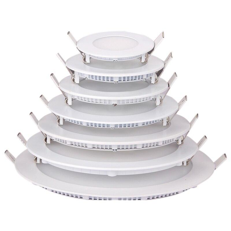 Panel de luz Led regulable, Ultra delgado, 3w, 4w, 6w, 9w, 12w, 15w, 18w, foco empotrable redondo para techo, lámpara AC85-265V indolora