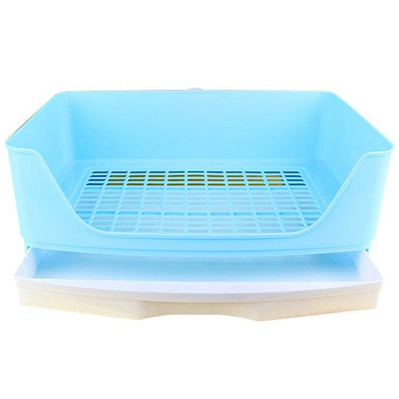 Large Rabbit Litter Box with Drawer, Corner Toilet Box with Grate Potty Trainer, Bigger Pet Pan for Adult Guinea Pigs, Chinchill