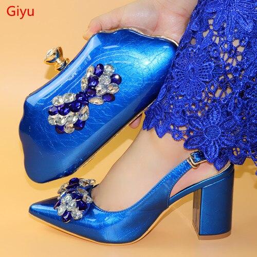 Doershow-أحذية وحقائب إيطالية زرقاء ، مجموعة جديدة من الأحذية والحقائب الأفريقية ، للحفلات النسائية ، الأحذية الإيطالية HLO1-62