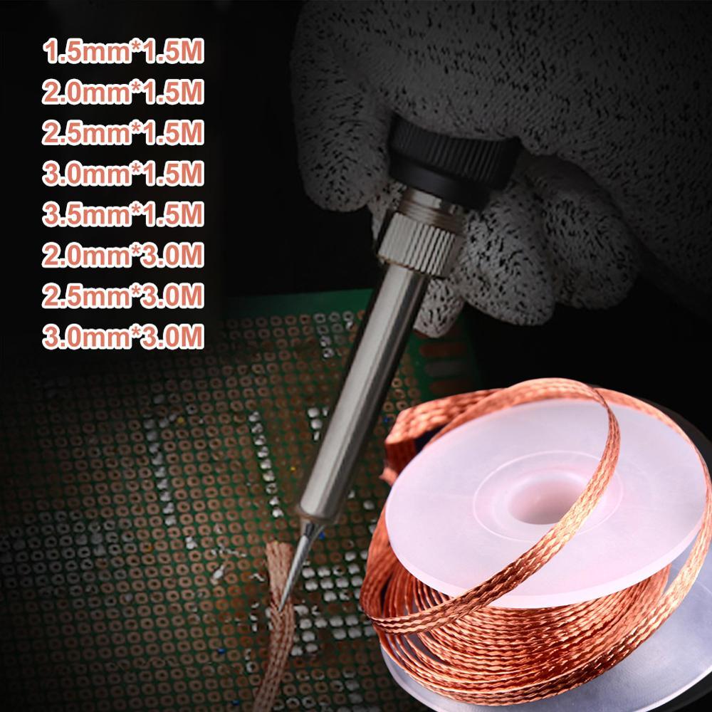 wmore soldering iron wick wire lead free tin 1 5m length 2mm width desoldering braid welding solder remover wick wire cord flux 1.5M Length Welding Solder Remover Wick Wire Lead Cord Flux Residue Tin Strip 1.5mm 2mm 2.5mm 3mm 3.5mm Width Desoldering Braid