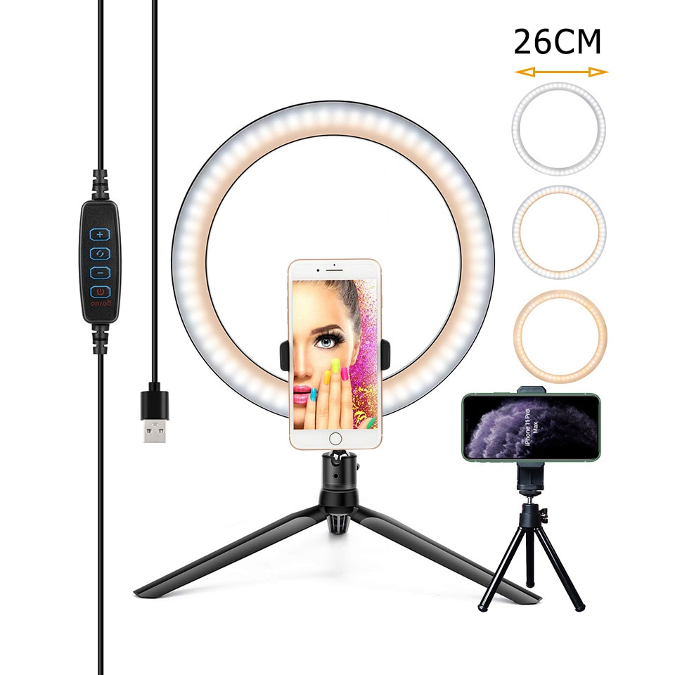 new 10inch portable selfie ringlight adjustable tripod remote photography lighting phone photo led ring fill light lamp youtube 26/16CM Photography Lighting Phone Ringlight Tripod Stand Photo Led Selfie Bluetooth remote Ring Light  Lamp Fill Youtube Live