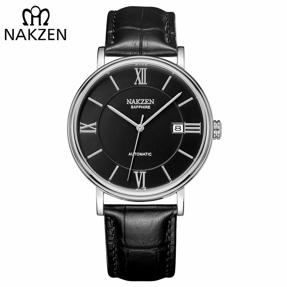 Relojes mecánicos automáticos para hombre, marca NAKZEN, reloj de pulsera de cuero de lujo para hombre, reloj Masculino Miyota 9015