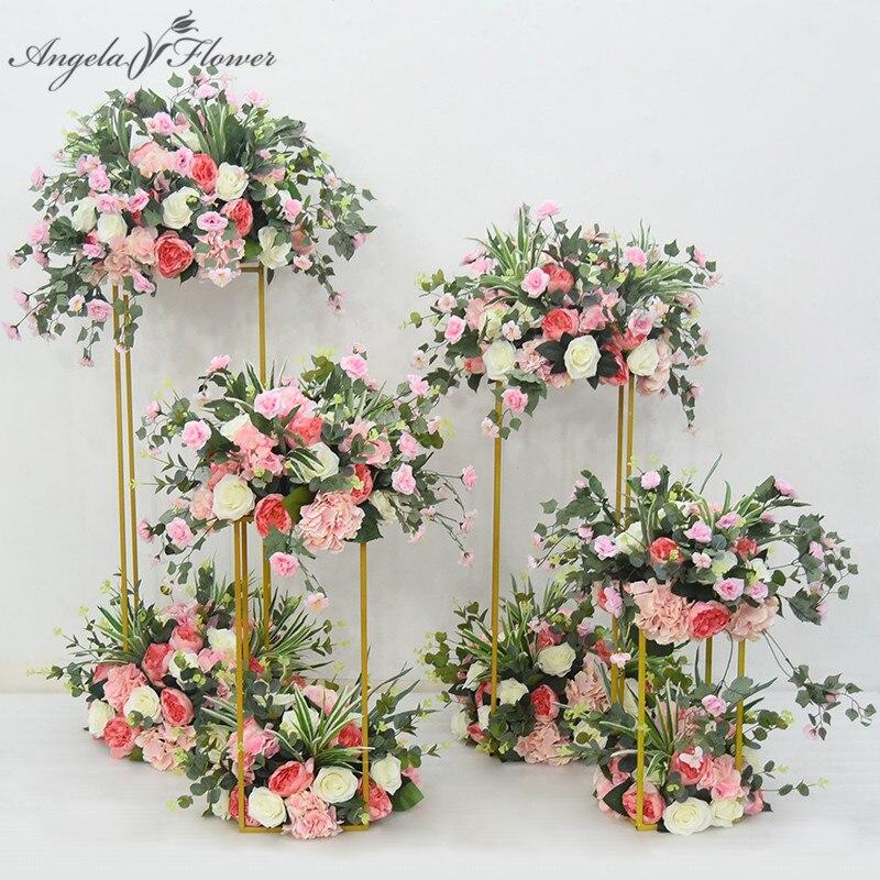 Ślub kreatywna geometria droga ołowiu arch decor sztuczny kwiat kutego metalu żelaza kwadratowy blok party event supply stojak na kwiaty