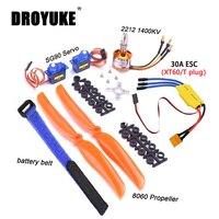 Мотор бесщеточный Droyuke A2212 2212 1400KV 30A ESC, мотор SG90 9G Micro Servo 8060, пропеллер для радиоуправляемого самолета с неподвижным крылом