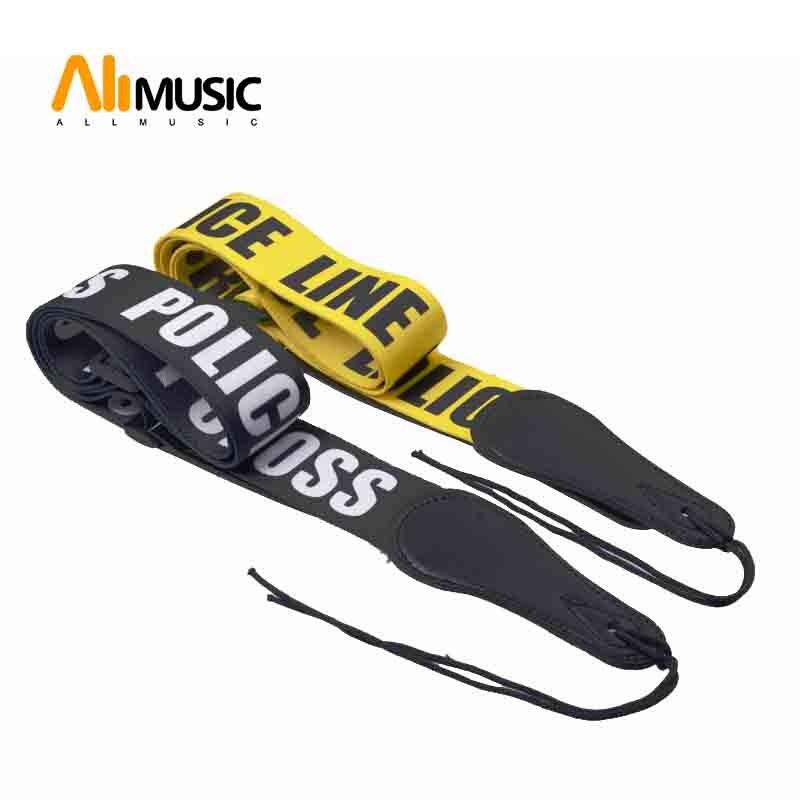 Police Line Gutiar Strap Adjustable Acoustic Guitar Strap bass Black-Yellow