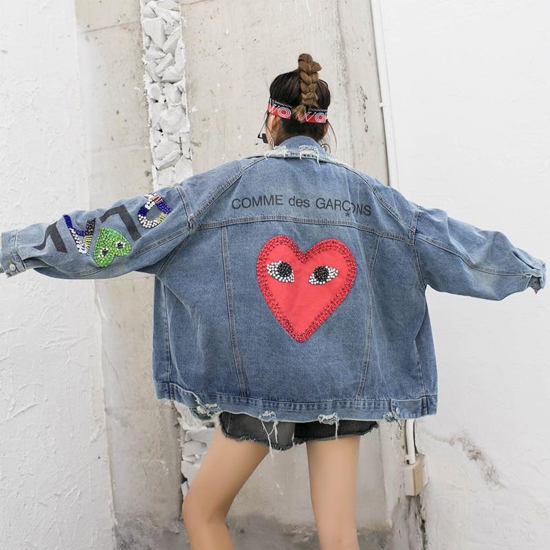 Tailandia tide marca heavy work beaded hot diamond love letter lentejuelas chaqueta vaquera suelta Mujer red camisa otoño