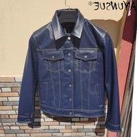 genuine mens jacket genuine sheepskin jacket genuine cowhide jacket autumn