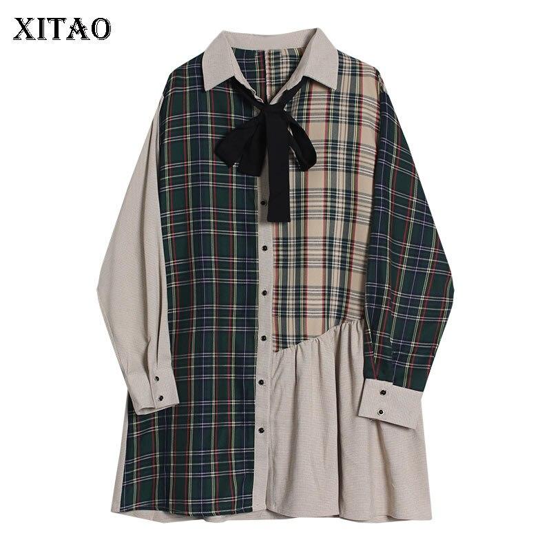 XITAO Vintage Lattice empalme Vestido Mujer lazo elegante moda señoras vestidos Turn Down Collar mujeres ropa 2019 otoño WLD3067