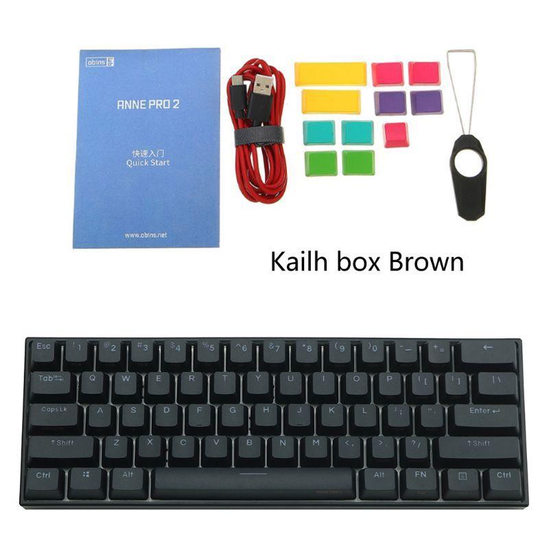 Mini teclado mecánico portátil inalámbrico bluetooth 60% ANNE Pro2, interruptor rojo azul marrón, Cable desmontable Kailh
