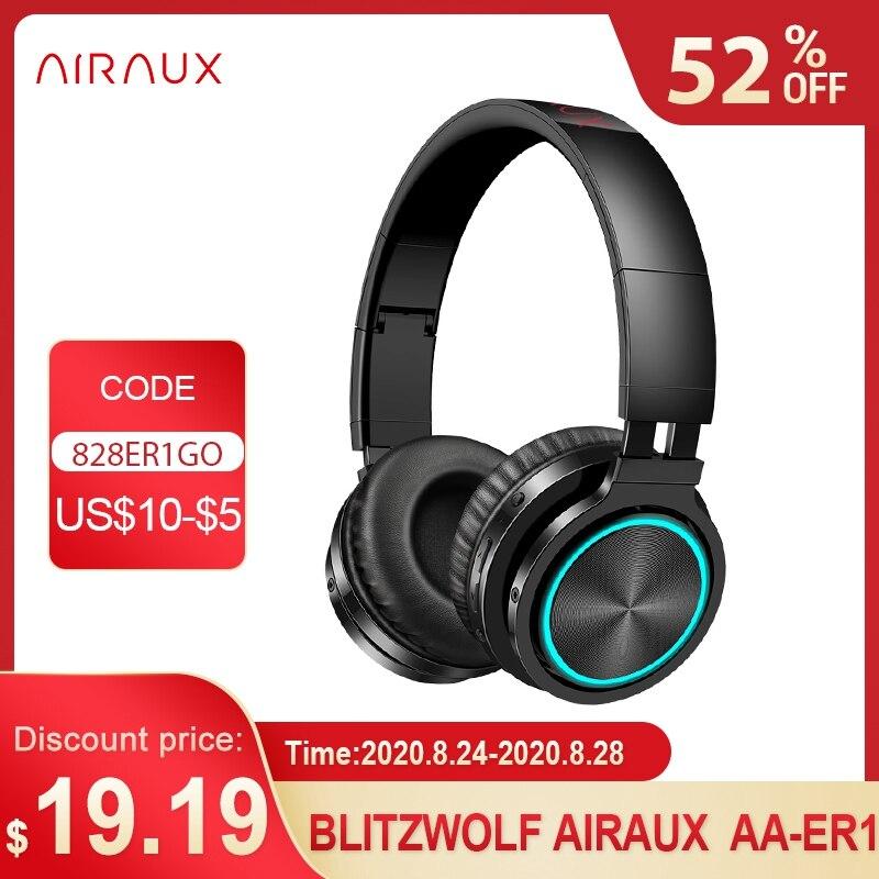 Jugador de pc BlitzWolf AIRAUX AA-ER1 auriculares inalámbricos bluetooth Estéreo HiFi auriculares de juegos RGB Light llamada HD TF auriculares de tarjeta para jugador de PC PS4