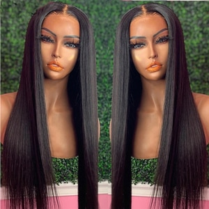 Glueless Jet Black Long Straight Lace Front Wig Synthetic Wig For Black Women With Baby hair Pre-Plucked Cosplay Wigs