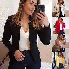 Multiple colour Women Blazer 2021 Leisure Blazers Lady Office Work Suit Pockets Jackets Coat Slim Wo