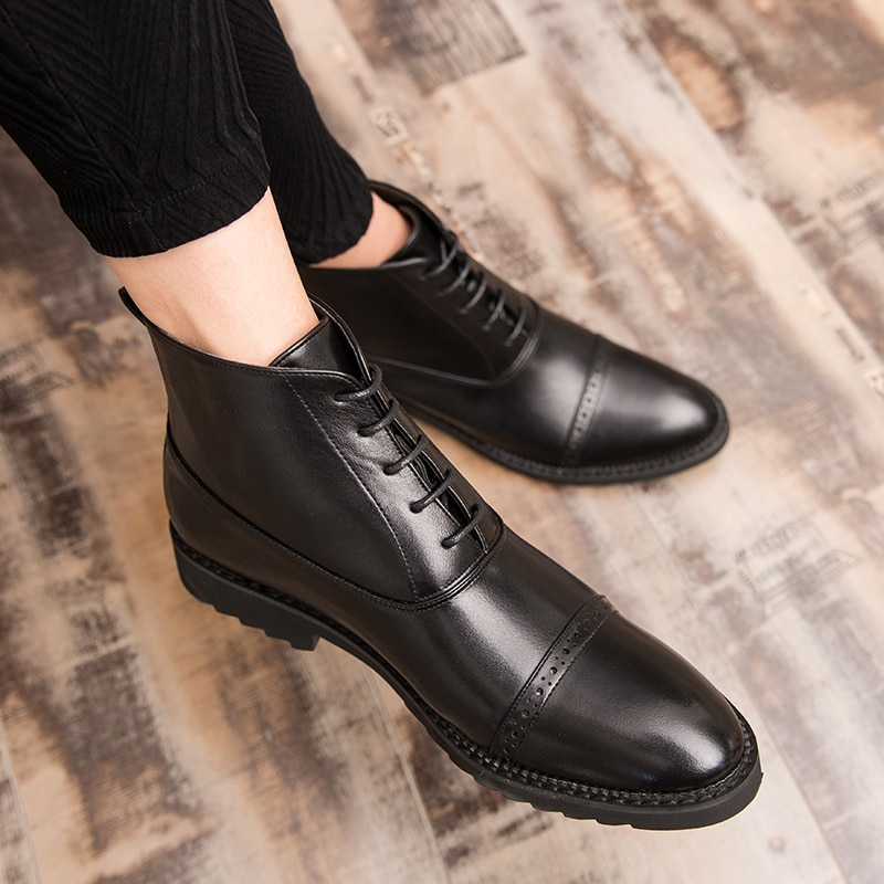 Botas de tobillo talla grande 48 para hombre, Botines de cuero genuino brogue para hombre, botas de hombre Martin, zapatos informales de invierno con cordones para hombre, zapatos de hombre de alta calidad a4