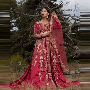 Burgundy Luxury Beading Dubai Arabia Wedding Dresses Long Sleeves Gold Appliques Moroccan Kaftan Bridal Gowns Islamic Dress