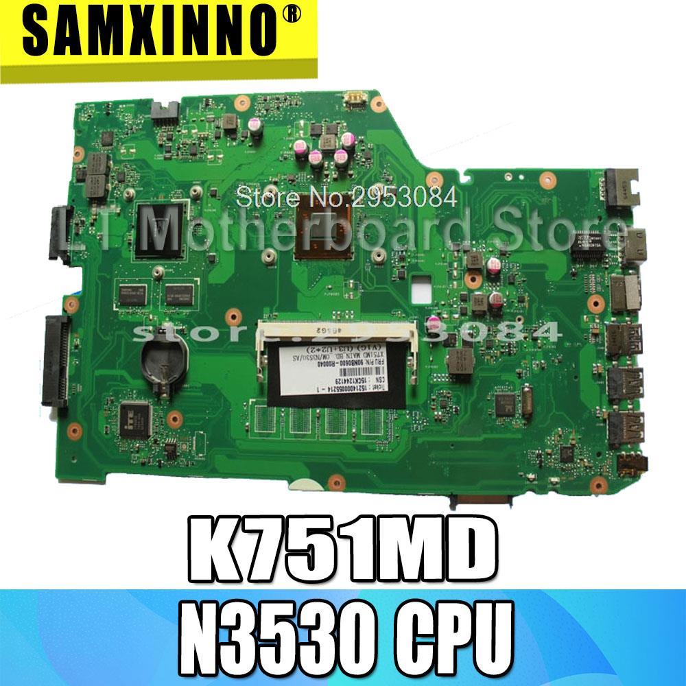 Para ASUSK751M, K751MD R752M, R752MD F751M, F751MD X751MD X751MJ rev2.0 motherboard laptop com CPU onboard N3530 N15V-GM-S-A2