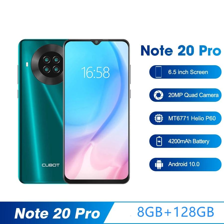 Перейти на Алиэкспресс и купить Cubot Note 20 Pro смартфон 8 ГБ + 128 ГБ 6,5 дюймов 4200 мАч Android 10 Quad Camera мобильный телефон NFC Dual SIM телефон 4G мобильный телефон