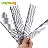 1pc dog comb long thick hair fur removal brush stainless steel lightweight pets dog cat grooming combs for shaggy dogs barber