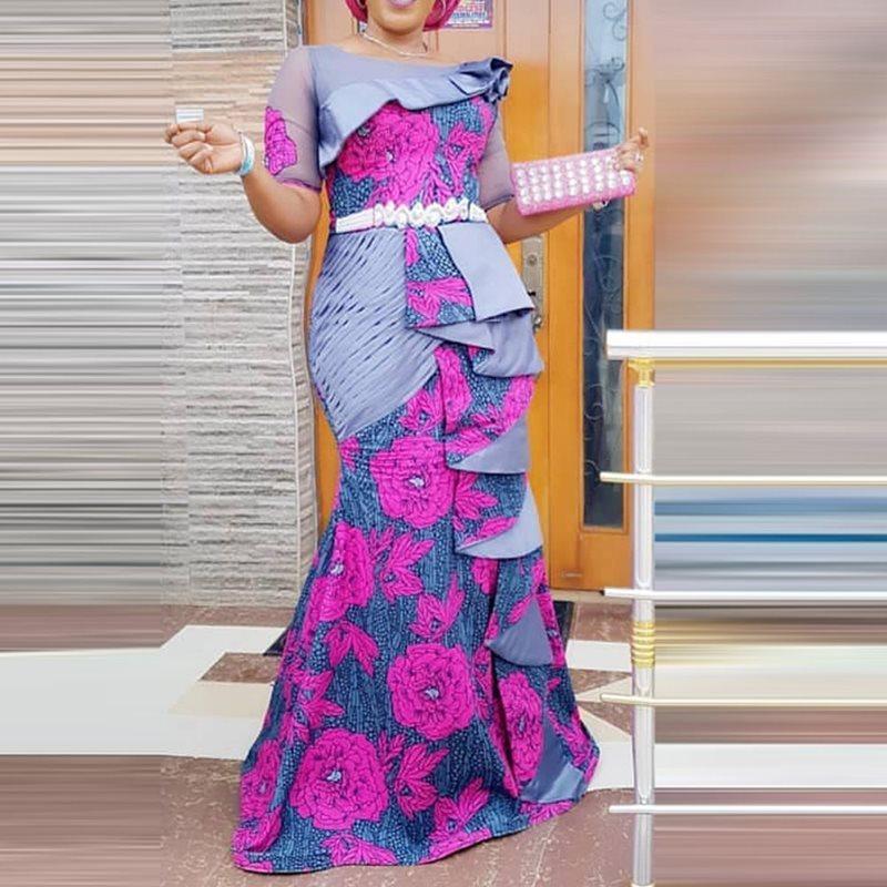 AliExpress - South Afican Print Dress Women Ruffles Flora Fashion Robe Africaine Femme Bodycon Maxi Mermaid Dress Africa Clothes Fall Winter