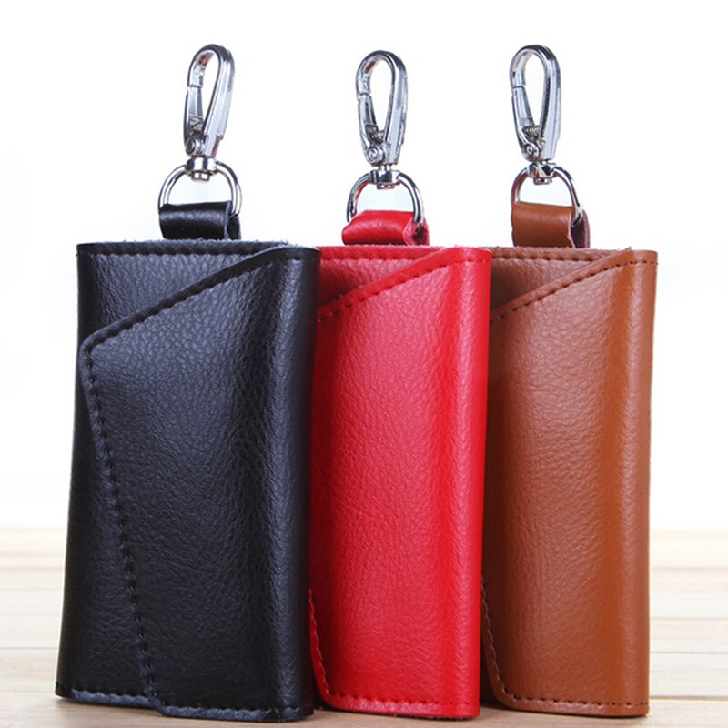 New Key Holder Wallet Genuine Leather Unisex Solid Key Wallet Organizer Bag Car Housekeeper Wallet Card Holder TR883579