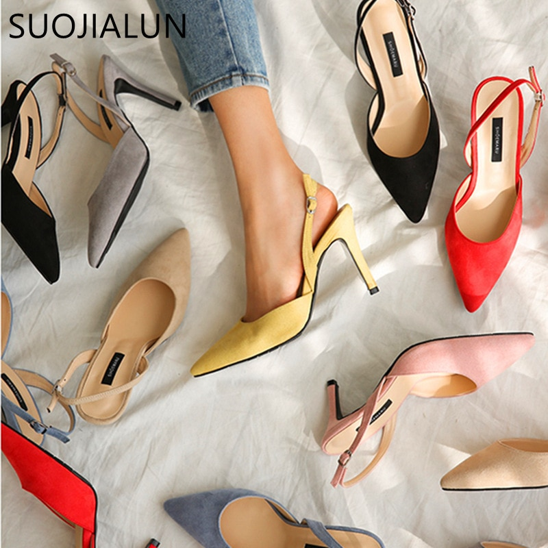 SUOJIALUN Women Pumps Fashion Elegant High Heels Summer Brand Woman Sandals Party Shoes Pointed Toe Slip On Office Ladies Shoes sexy v mouth slip on women casual office lady shoes 2020 spring new crystal pumps party shoes woman pointed toe spike high heels