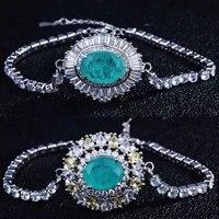 female charm bracelets silver 925 jewelry paraiba tourmaline emerald gemstone bracelet for women cocktail party fine jewelry