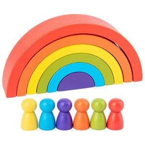 Деревянные радужные игрушки Монтессори для детей, развивающие креативные игрушки «сделай сам», строительные блоки, математические игрушки...