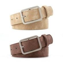 2020 2.8cm Wide Leather Waist Strap Belt Black Brown high quality Women Square Metal Buckle belts La