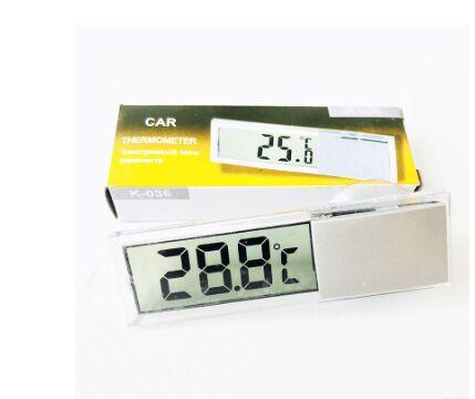 Новинка, Лидер продаж, автомобильные часы 2 в 1, термометр на присоске, часы с термометром, Прозрачные Цифровые часы с ЖК-дисплеем, 10 кнопок