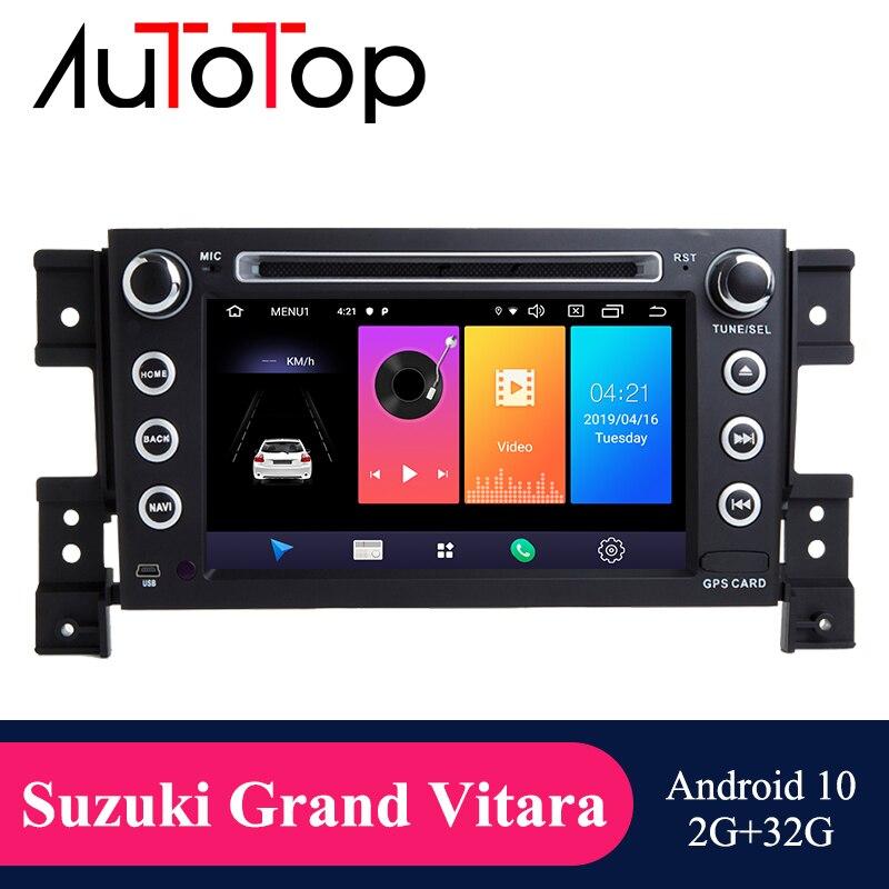 """Autotop 7 """"2din android 10 reprodutor de dvd dos multimédios do carro para suzuki grand vitara 2006-2011 rádio de navegação gps rds wifi mirrorlink"""