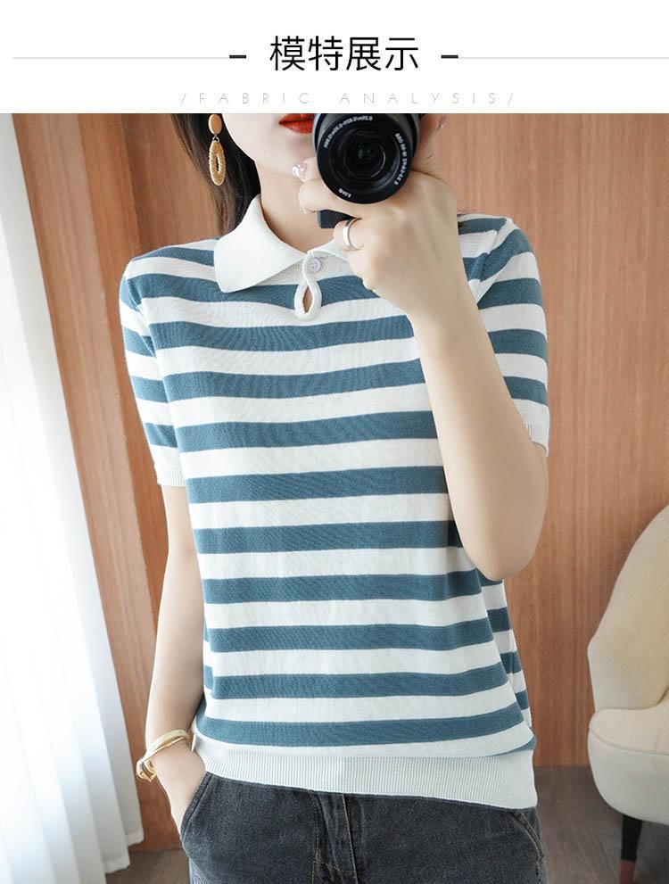 Summer Hot Sale 100% Cotton Top T-shirt Ladies Knit Short Sleeve Lapel Slim Short Pullover S-XXL 21  brand ladies Sweate