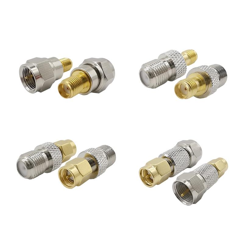 2pcs Sma F Rf Connector Rf Coaxial Coax Adapter F Type Female Jack To Sma Male Plug Straight F Connector To Sma Connector Connectors Aliexpress