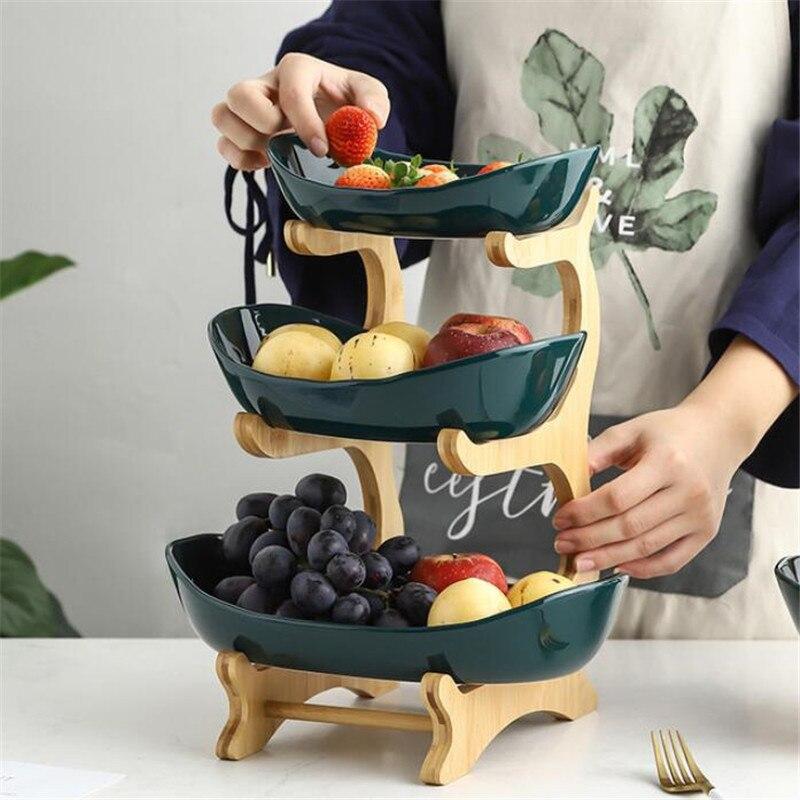سلة فاكهة طبق الحلوى السيراميك غرفة المعيشة الحديثة طبقتين ثلاث طبقات الإبداعية المجففة طبق للوجبات الخفيفة