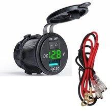 QC3.0 2.1A charge rapide double USB voltmètre de voiture LED affichage numérique adaptateur dalimentation avec commutateur câblage étanche voiture USB chargeur