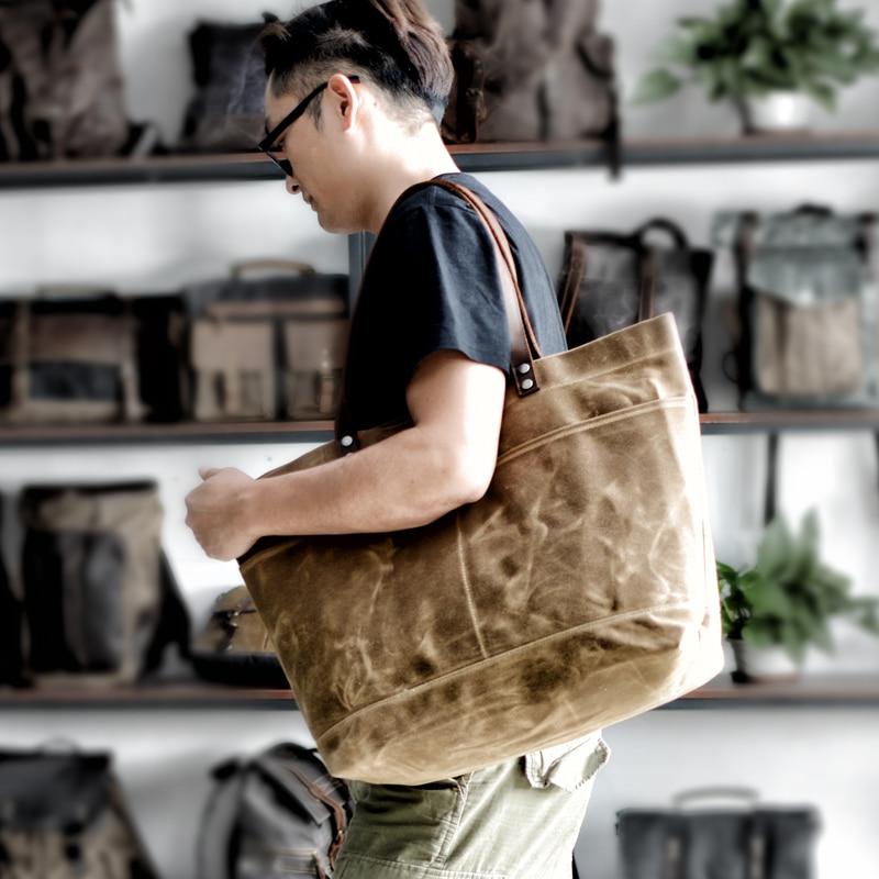 حقيبة حمل قماشية مشمع ريترو ، حقيبة كتف على طراز الرجال ، حقيبة تسوق سوداء بسيطة للسوبر ماركت ، لحاف كبير