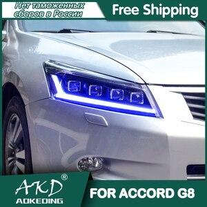 For Car Accord G8 Headlights 2008-2013 DRL Day Run Light LED Bi Xenon Bulb Fog Lights Car Accessory Accord Head Lamp