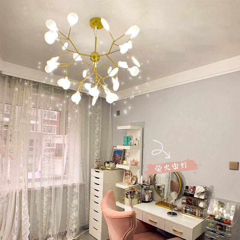 Nordic chandelier living room lamp creative personality firefly lamp modern minimalist bedroom dining room study branch lighting