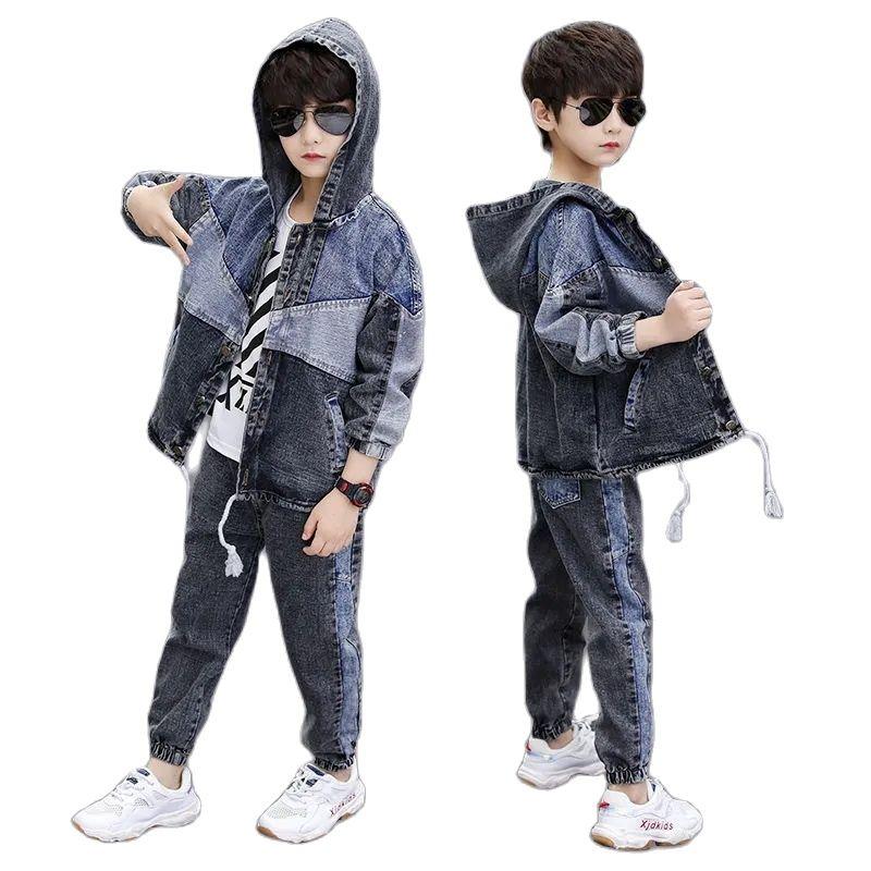 الربيع والخريف كاوبوي بوي مجموعات جديدة 2021 النسخة الكورية موضة طويلة الأكمام مقنعين خليط 2 قطعة ملابس الأطفال عادية