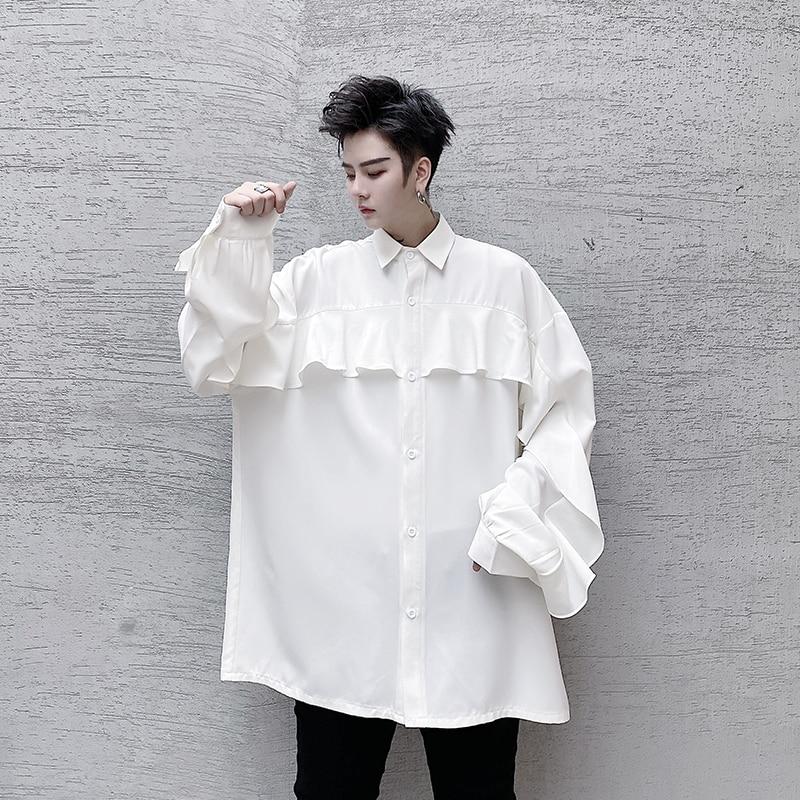 قميص كبير بأكمام طويلة مع طباعة أوراق اللوتس للرجال والنساء ، نمط عتيق ، أزياء الشارع ، زوجين
