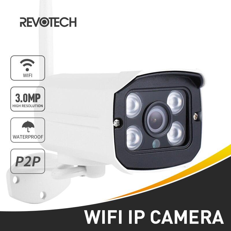 H.265 WIFI 3MP/1080 P cámara IP al aire libre 4 array LED visión nocturna cámara de seguridad a prueba de agua bala CCTV con ranura para tarjeta SD