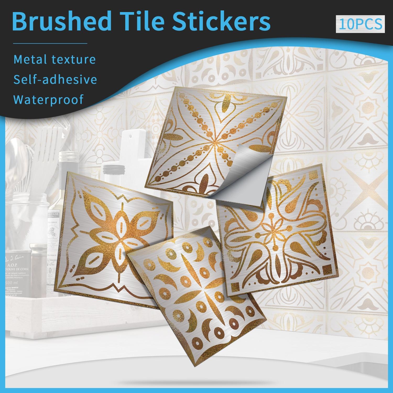 Самоклеящаяся плитка из серебряной фольги с металлическим эффектом для ванной комнаты, гостиной, настенное украшение, водонепроницаемая Глянцевая наклейка