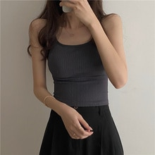 Women Vest 2021 The New Korean U-neck Beautiful Back Suspender Sports Vest Worn Outside And Lined Wi