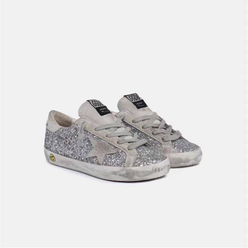 Spring and Summer New First Layer Cowhide Children's Old Small Dirty Shoes for Boys and Girls Silver Sequins Kids Sneakers CS185