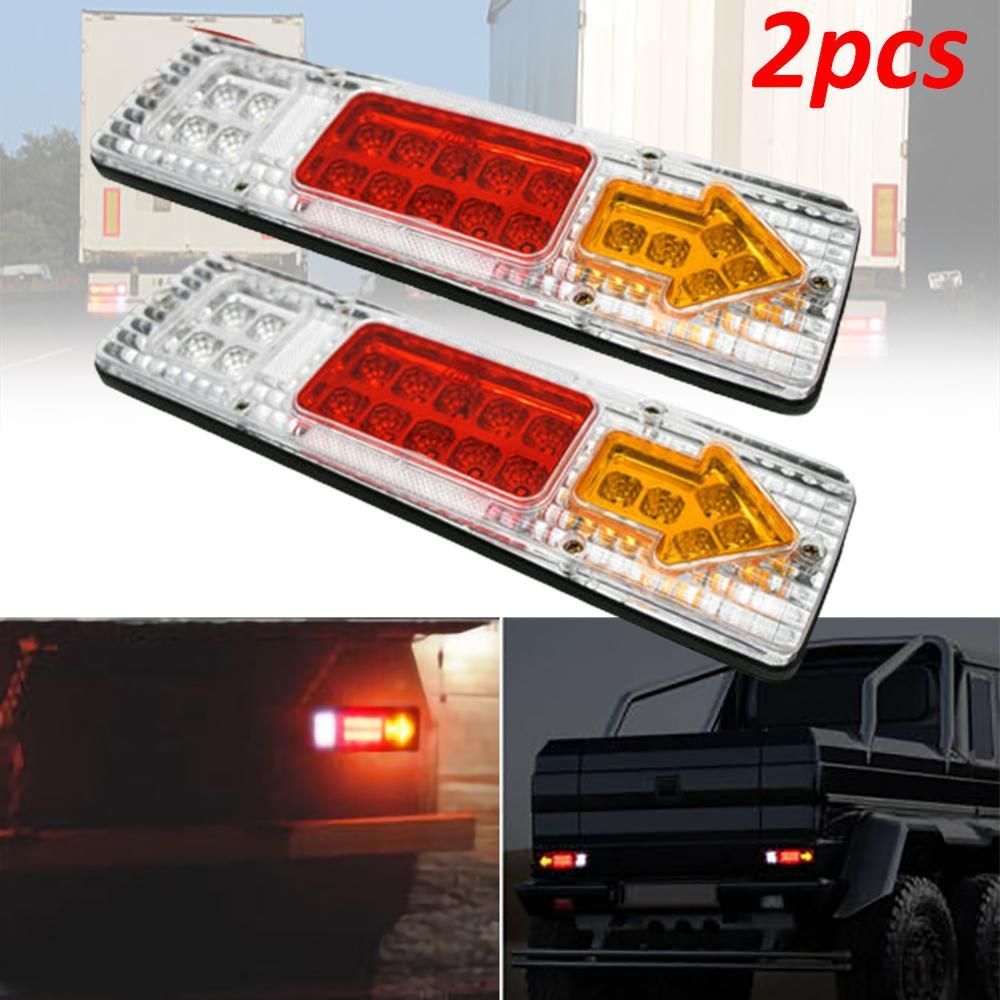 2 uds 12V 12V 19 LED Auto camión cola trasera de luz de marcha atrás, freno lámpara impermeable del remolque del camión de la lámpara