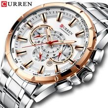 CURREN Sport Watches Men's Luxury Brand Quartz Clock Stainless Steel Chronograph Big Dial Wristwat