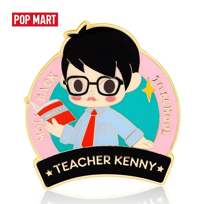 Caja ciega POP MART Molly school life Badge caja aleatoria regalo figura de acción Regalo de Cumpleaños chico juguete envío gratis