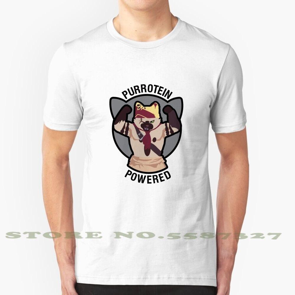 Purrotein powered legal design t-shirts na moda monstro caçador chef muscular ginásio jogos de vídeo gato purr felyne brommigan