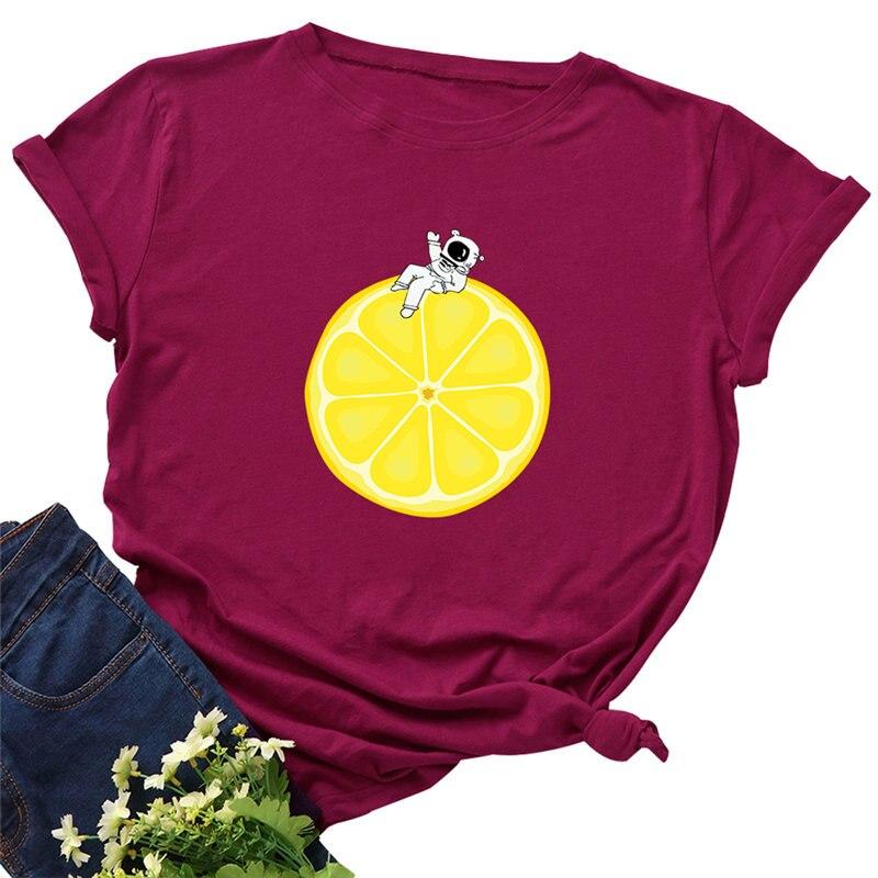 Verano moda mujer Camiseta 100% algodón camiseta limón y astronauta dibujos animados Tops Casual Harajuku mujer camiseta