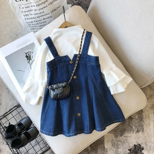 2 Pieces Kids Suit Set, Solid Color Round Neck Long Flare Sleeve Top+ Suspender Skirt, 2-8 Years